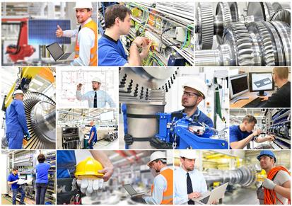 Ingenieurwesen - Berufe im Maschinenbau - Arbeiter und Techniker in einer Fabrik // mechanical engineering inside fabrication